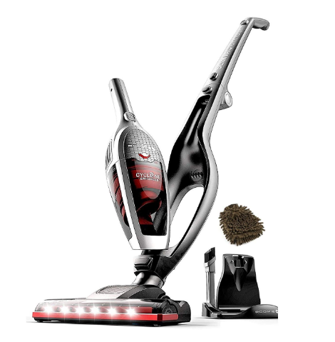 High-Power 2200mAh Li-ion Rechargeable Battery with Corner Lighting and Upright Charging Base ROOMIE TEC Cordless Vacuum Cleaner 2 in 1 Handheld Vacuum